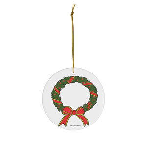 Holiday Wreath Round Ceramic Ornament
