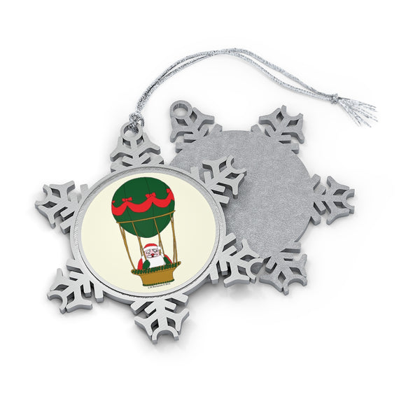 Red and Green Balloon Santa Pewter Snowflake Ornament