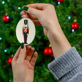 Toy Soldier in Red and Black Oval Ceramic Ornament