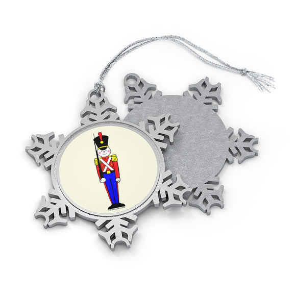 Toy Soldier in Red and Blue Pewter Snowflake Ornament