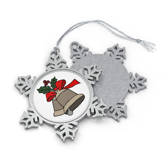 Holly and Bells Pewter Snowflake Ornament