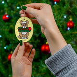 Holiday Dog with Gift Oval Ceramic Ornaments V#-162-O