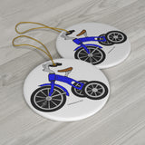 Blue Tricycle Round Ceramic Ornament