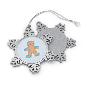 Happy Gingerbread Boy Pewter Snowflake Ornament