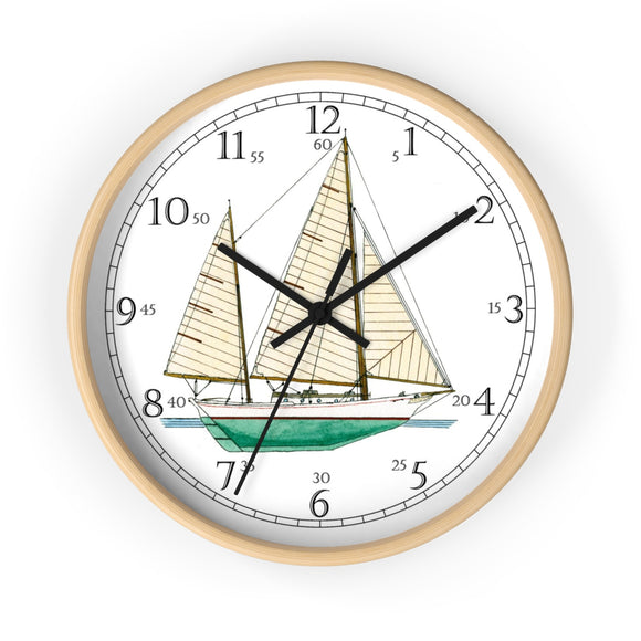 Clipper Bowed Cruising Ketch English Numeral Clock