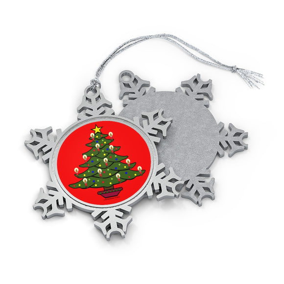 Merry Christmas Tree Pewter Snowflake Ornament