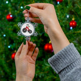 Red Tricycle Pewter Snowflake Ornament