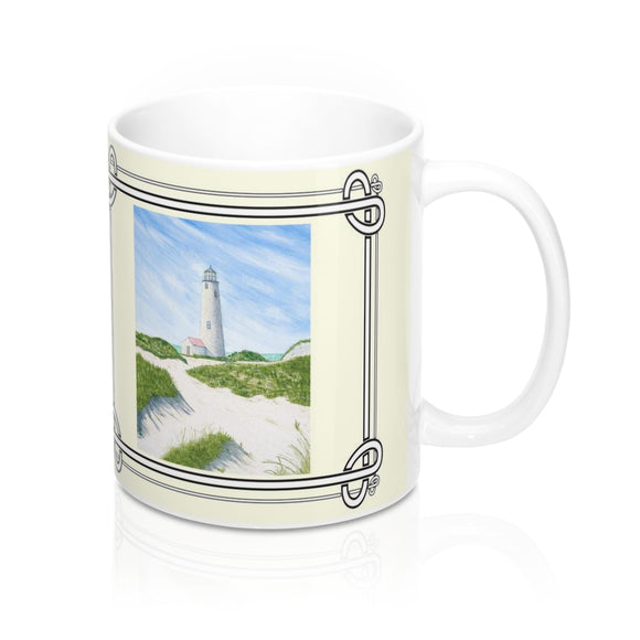 Dunes At Great Point Lighthouse Mug by Lee M. Buchanan
