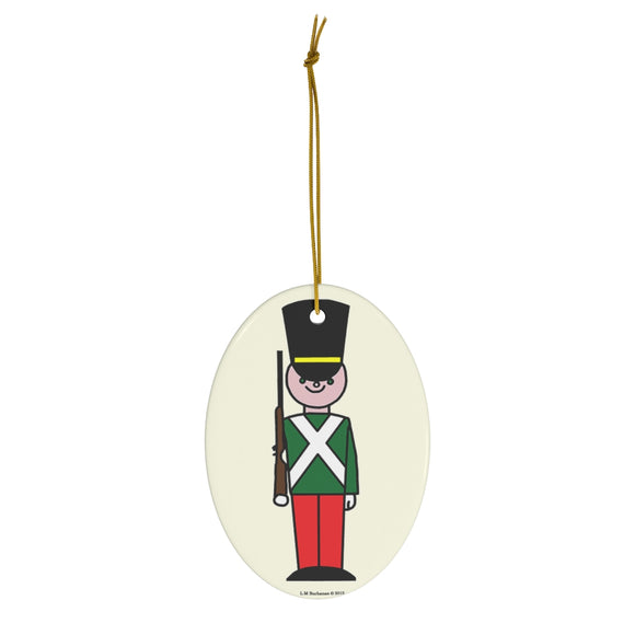Red and Green Toy Soldier Oval Ceramic Ornament
