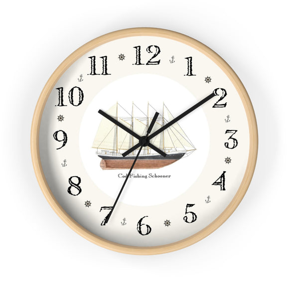 Cod Fishing Schooner Heirloom Designer Clock