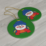 Happy Holiday Snowman Round Ceramic Ornament