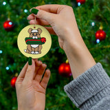 Holiday Dog with Gift Round Ceramic Ornament