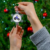 Blue Tricycle Pewter Snowflake Ornament