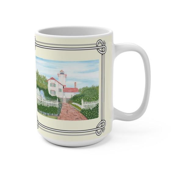 Gardens At Hereford Inlet Lighthouse15 oz Mug by Lee M. Buchanan