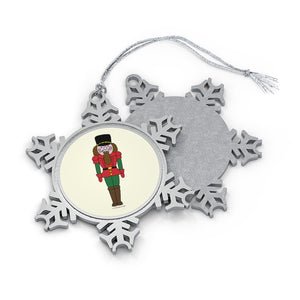 Red and Green Nutcracker Pewter Snowflake Ornament