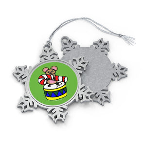 Mouse, Candy Cane and Drum Pewter Snowflake Ornament