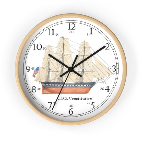 U.S.S. Constitution English Numeral Clock