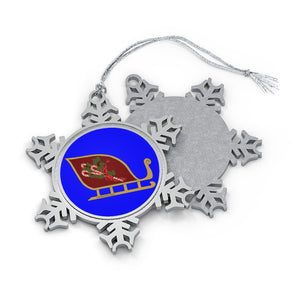 Red Candy Cane Sleigh Pewter Snowflake Ornament