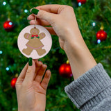 Fancy Gingerbread Girl Round Ceramic Ornament