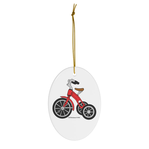 Red Tricycle Oval Ceramic Ornament