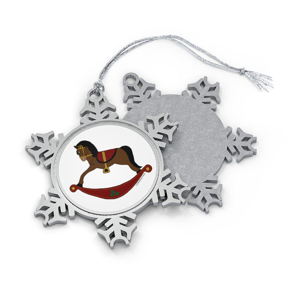 Brown and Red Rocking Horse Pewter Snowflake Ornament