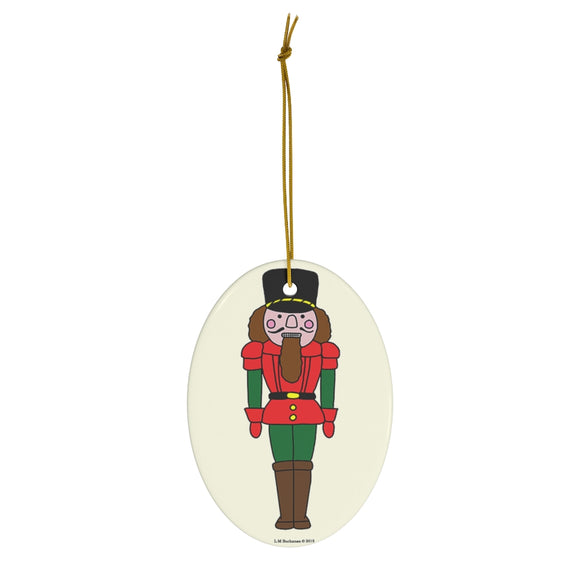 Red and Green Nutcracker Oval Ceramic Ornament