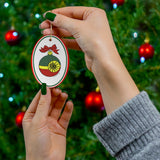 Red, Green and Gold Starbright Oval Ceramic Ornament