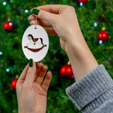 White and Red Rocking Horse Oval Ceramic Ornament