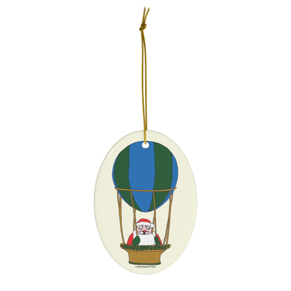 Blue and Green Balloon Santa Oval Ceramic Ornament