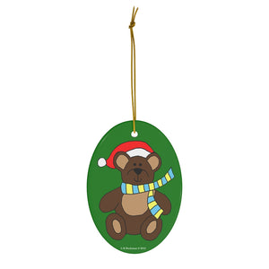 Holiday Bear with Santa Hat Oval Ceramic Ornament