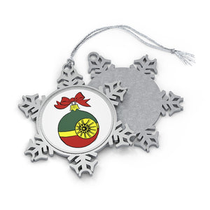 Red, Green and Gold Starbirght Pewter Snowflake Ornament
