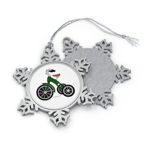 Green Tricycle Pewter Snowflake Ornament
