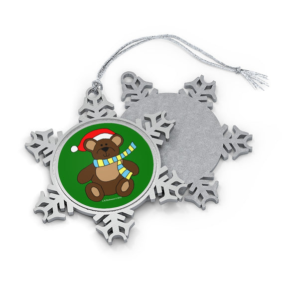 Holiday Bear with Santa Hat Pewter Snowflake Ornament