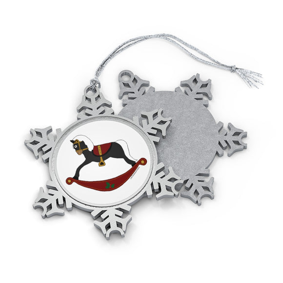 Black and Red Rocking Horse Pewter Snowflake Ornament
