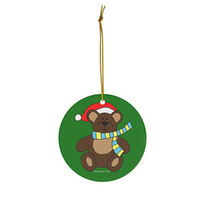 Holiday Bear with Santa Hat Round Ceramic Ornament