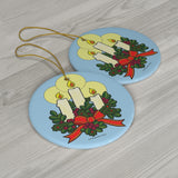 Christmas Candles Round Ceramic Holiday Ornament