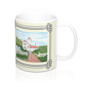Gardens At Hereford Inlet Lighthouse 11 oz Mug by Lee M. Buchanan