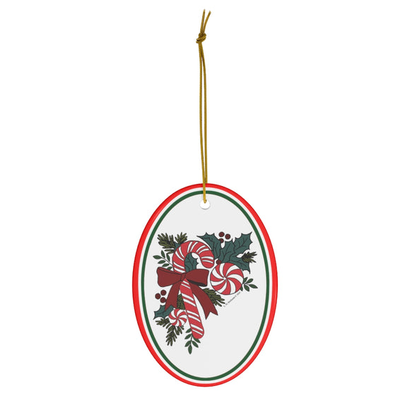 Candy Cane Favorites with Holly Oval Ceramic Ornament