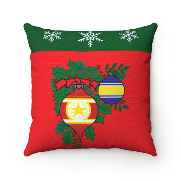 Christmas Balls and Snowflakes Pillow
