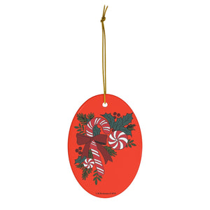 Candy Cane Trio with Holly Oval Ceramic Ornament