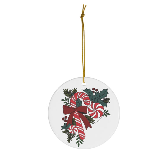 Candy Cane Favorites with Holly Round Ceramic Ornament