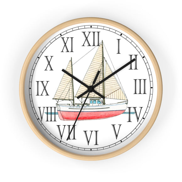 Ketch Rigged Motor Sailor Roman Numeral Clock