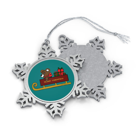 Merry Christmas Sleigh Pewter Snowflake Ornament