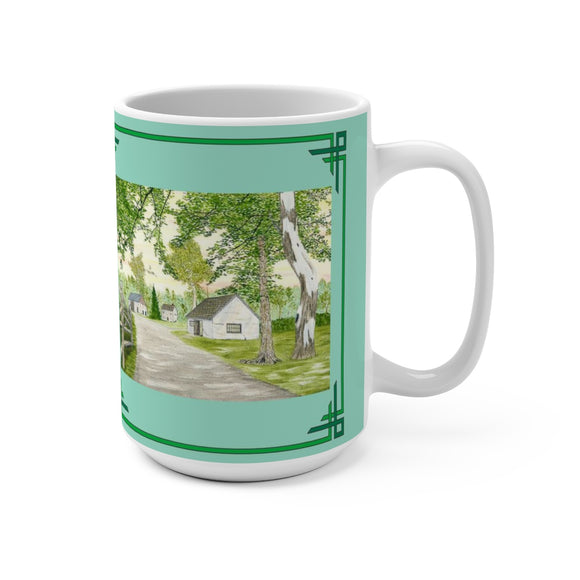 Country Lane And Fence 15 oz Mug by Lee M. Buchanan