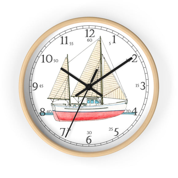 Ketch Rigged Motor Sailor English Numeral Clock