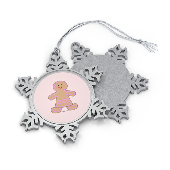 Happy Gingerbread Girl Pewter Snowflake Ornament