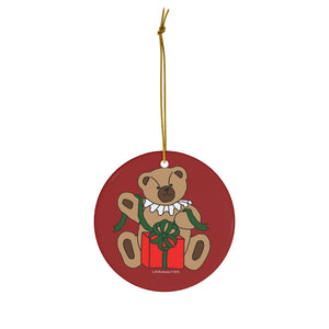 Holiday Bear with Gift Round Ceramic Ornament
