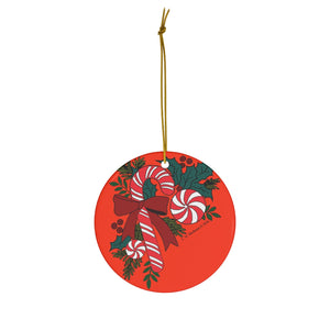 Candy Cane Trio with Holly Round Ceramic Ornament