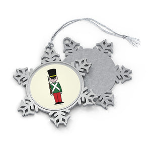Red and Green Toy Soldier Pewter Snowflake Ornament