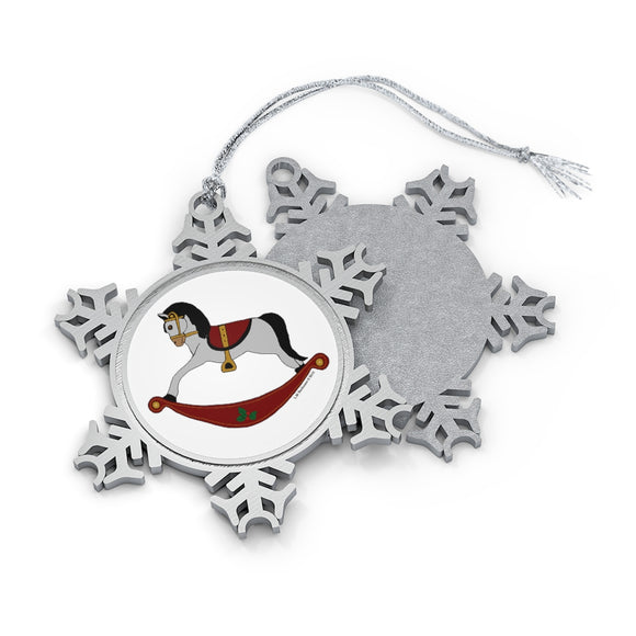 Grey and Red Rocking Horse Pewter Snowflake Ornament